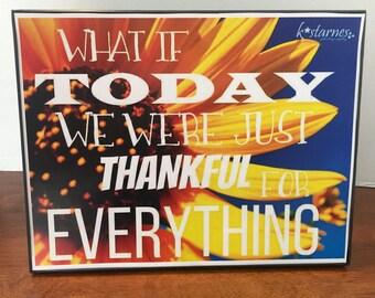 Inspirational Art, Inspiring Wall Art, Inspirational Art Print, Thankful Sunflower Art