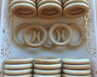 """3"""" Set of 50 ORGANIC Finished Wood Rings for Baby Teething Rings- Wooden ring sealed w/ 100% Organic Beeswax and Coconut Oil CPSIA 