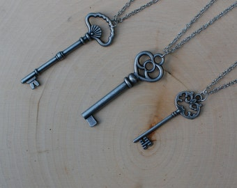 Key Charm Necklace | Antiqued Silver Key