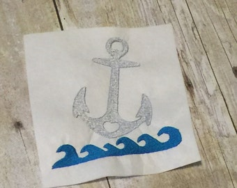 Anchor With Waves Embroidery design, Anchor Applique