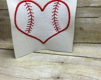 Baseball Embroidery Design, Baseabll Heart Embroidery Design