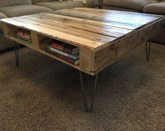 Pallet Coffee Table with Steel Hairpin Legs