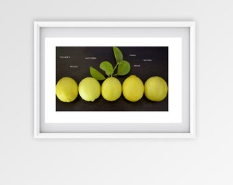Yellow Lemons-Lime-summer-nature-kitchen decor-poster-typography