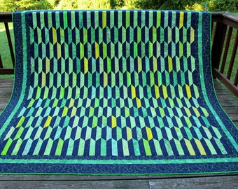Rainforest Modern King Bed Quilt-Original Happy Kiwi Design