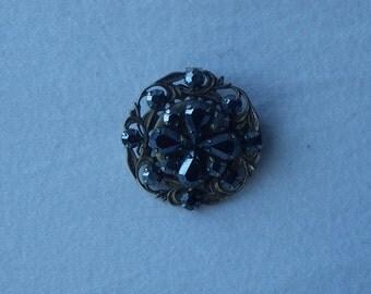 Vintage Smoked Crystal Brooch/Necklace