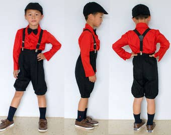 Toddlers and Boys Retro 5-Piece Suspender Suit Red Black