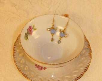 Dusty Blue and Gold Teapot Earrings-10.00