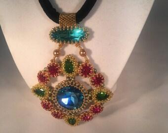 Swarovski Crystal Necklace Velvet Neck Strap