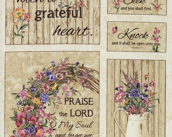 GRATeFUL HEART - #JT-C4669 Beige Grateful Heart Panel 100% Cotton Quilt Shop Fabric From Timeless Treasures By Wing And A Prayer