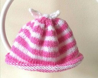 Candy Stripe Pink and White Newborn Hat