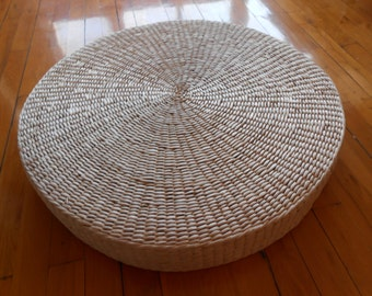 Rustic floor cushion/natural grass mat/straw pouf/meditation/Yoga cushion/pouf ottoman/meditation pillow/home decor/Ikea style