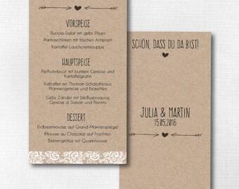 Menu card wedding - vintage wedding