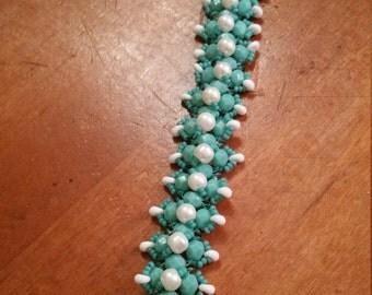 "Handmade Fire Polish Turquoise - Pearls - Small Magatana Beads - Right Angle Weave Bracelet 7"""