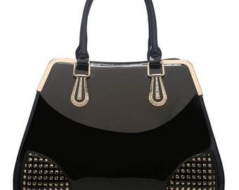 Black with Gold Studs Handbag