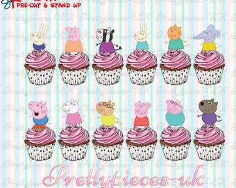 24 x Peppa Pig & Friends Stand-Up Pre-Cut Wafer Paper Cupcake Toppers