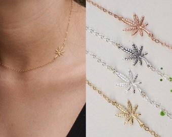 Marijuana leaf necklace - cannabis necklace - pot necklace - leaf necklace- weed necklace - 420 necklace - mary jane