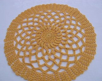 Round doily, doily, crocheted Doilies in yellow