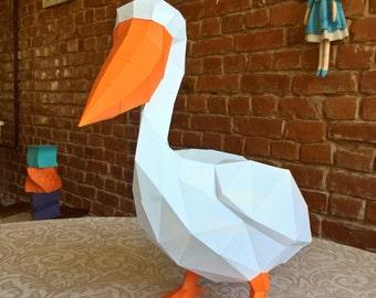 Papercraft pelican PDF template