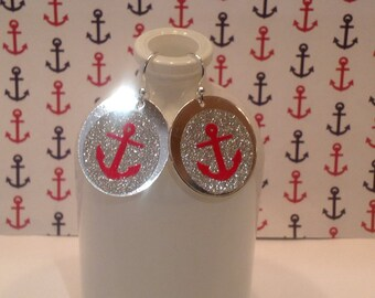 Monogram earrings, handmade,vinyl designs,custom earrings, nautical anchor earrings