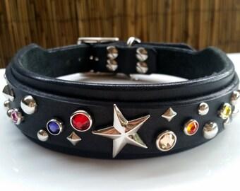 Collar & Ruff -- The Stardust -- Custom Leather Dog Collar, Black Leather Dog Collar