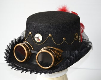 Hat brim pleated Steampunk