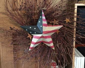 """Patriotic berry twig wreath 24"""""""