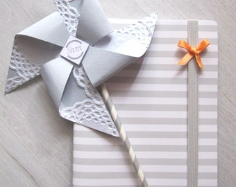 Girandole in carta Segnaposto con cannucce a righe - Paper Pinwheels with Paper Straws as Place Cards or Party Decor