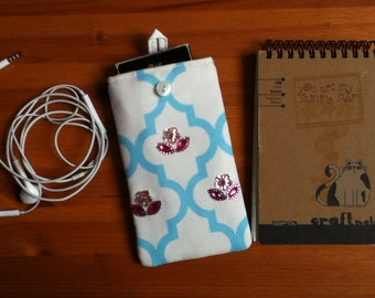 """Smartphone pouch """"Pink Flowers"""" 15 x 8.5 cm soft inside - smartphone case, smartphone cover or smartphone sleeve"""
