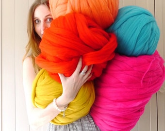 Giant Yarn knitting wool 30+ Colours - extreme knitting merino wool - DIY giant knit blanket - super chunky knitting wool