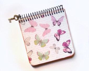 Artisan notebook (11 x 10.5 cm)    Butterfly decor    Recycled paper   Handmade notebook