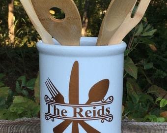 Personalized Kitchen Utensil Holder, Porcelain Utensil Holder, Utensil Caddy, Housewarming Gift, Wedding Gift, Chef Gift,