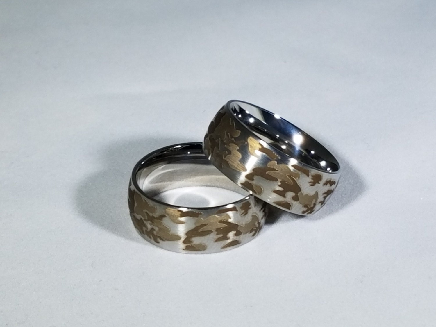 personalize yours white camo ring stainless steel