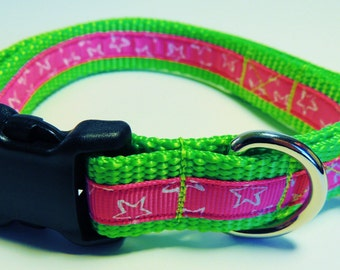 Small Green/Pink/White Stars Dog Collar
