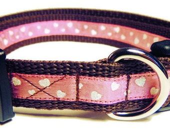 Small Pink Glittery Hearts Dog Collar