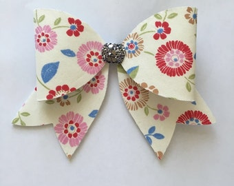 Large floral bow clip, girls bows