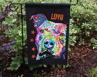 """Pitt Bull Dog Dogs """"Love a Pitt"""" Black Garden Flag--Dean Russo Art"""