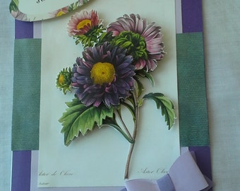 3d purple floral friendship card