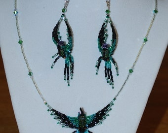 Small Emerald Hummingbird Necklace & Earring Set