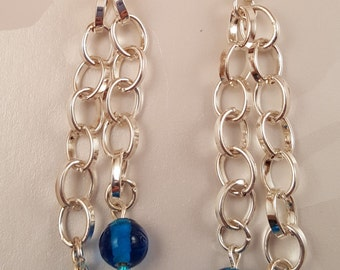 Double Chain Earrings with Blue