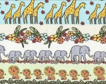 "Jungle Animals Fabric - Animal Stripes on White Juvenile Fabric with Giraffe, Elephant, Lion 100% cotton 43"" fabric by yard (G199)"