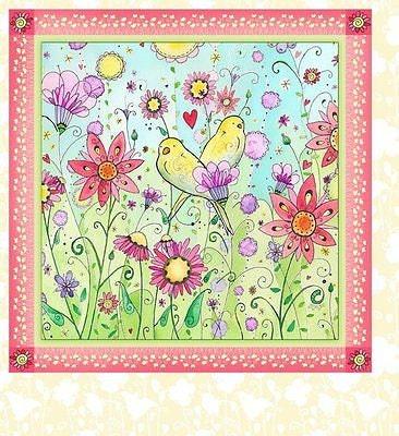 Nursery fabric 1mca1 in the beginning i heart you panel for Bird nursery fabric