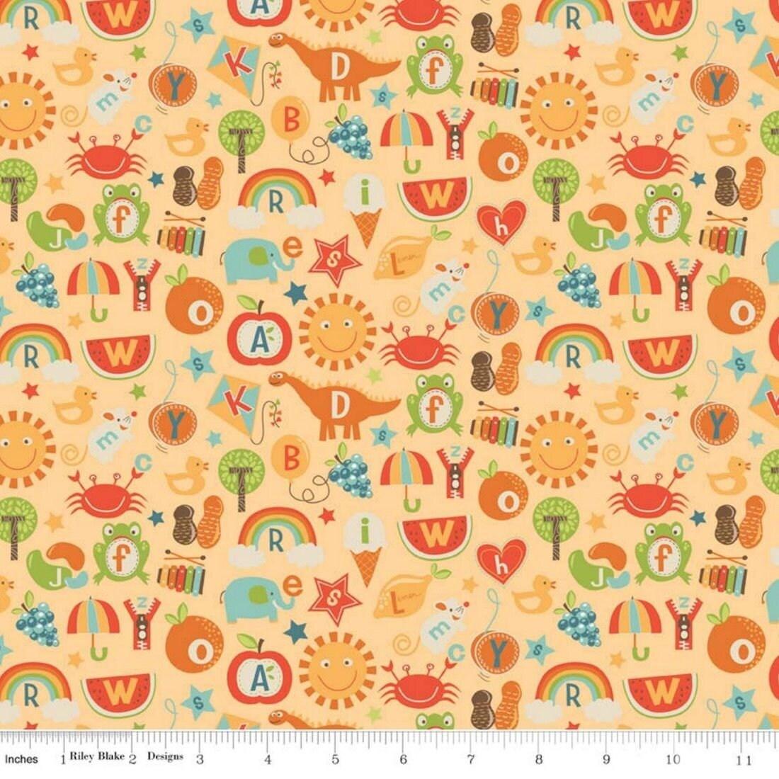 Nursery fabric school days c4821 yellow alphabets and for Yellow nursery fabric