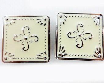 Lot Of 2 Concho Antiqued Beige Floral Design Craft Repair Set