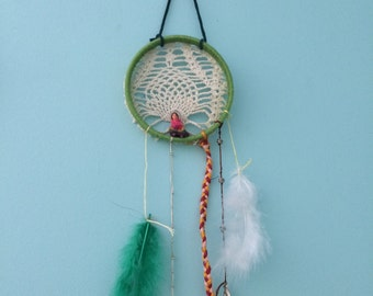 Dream catcher with antique doily and worry doll