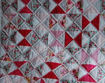 Pretty in Pink Hourglass Baby Girl Patchwork Quilt