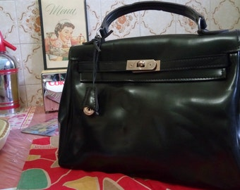 bag 1960 s black with padlock and keys old stock