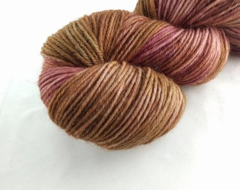 Yarn - Chocolate Raspberry Swirl Colorway -100% Wool - Hand Dyed - Knit - Crochet - Sport Weight