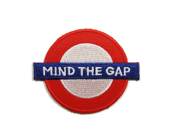 Mind The Gap British London Underground Sign Embroidered Applique Iron on Patch 7.1 cm. x 5.6 cm.