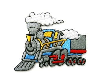 Train Steam Locomotive Embroidered Applique Iron on Patch 7.7 cm. x 6.5 cm.