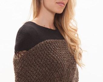 Black cover up accessory.Black top wear.Black cover up wrap.Brown shrug wrap.Knit shoulder wrap.Brown cover up. Brown shrug wrap accessory.